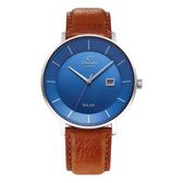 OBAKU 太陽能時尚環保皮革腕錶-棕色牛皮X藍色