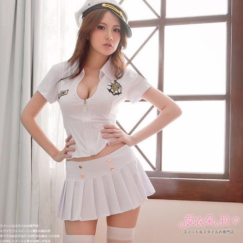 角色扮演海軍水手服 白色前拉鍊上衣百摺裙- 愛衣朵拉