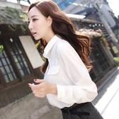 襯衫 彩黛妃2019春夏新款上衣女士韓版修身純色打底長袖雪紡襯衣白襯衫 歐歐
