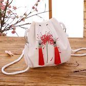 新款森擊小包彼岸花古風漢服包中國風仙女刺繡斜背包流蘇側背包 韓國時尚週