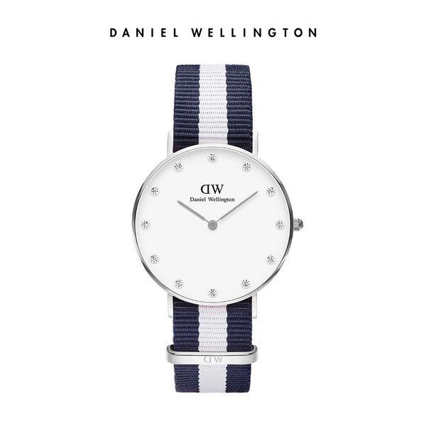 Daniel Wellington DW 手錶 34mm銀框 Classy 百搭藍白織紋鑽石錶