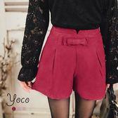 東京著衣【YOCO】蝴蝶結裝飾高腰打褶短褲-S.M.L(6023491)