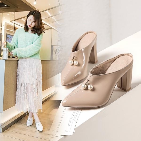 Dingle丁果大尺碼ღ閃亮漆皮造型珍珠穆勒鞋*5色