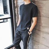 男士短袖t恤亞麻韓版潮流休閒運動夏季套裝夏天薄款男裝夏裝衣服 依凡卡時尚