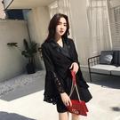 實拍 赫本風修身歐美小外套2020春秋新款黑色西裝裙喇叭袖連身裙