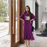 洋裝休閒長裙L-2XL/長款寬鬆大碼荷葉邊裙擺短袖連身裙景F5-5312.胖胖美依