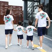 親子裝短袖T恤夏裝男女童上衣 2019一家三口洋氣母女母子全家裝潮