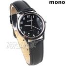 mono 簡約 高雅 設計美學 藍寶石水晶 真皮錶帶 小羊皮 中性錶 女錶 黑色 5003B黑字小