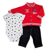 Carter s 長袖套裝 前扣薄外套+短袖包屁衣+牛仔長褲三件組紅棒球 男寶寶【CA121H639】