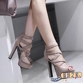 高跟鞋女夏16公分舞臺走秀鞋超高跟粗跟涼鞋一字扣黑色
