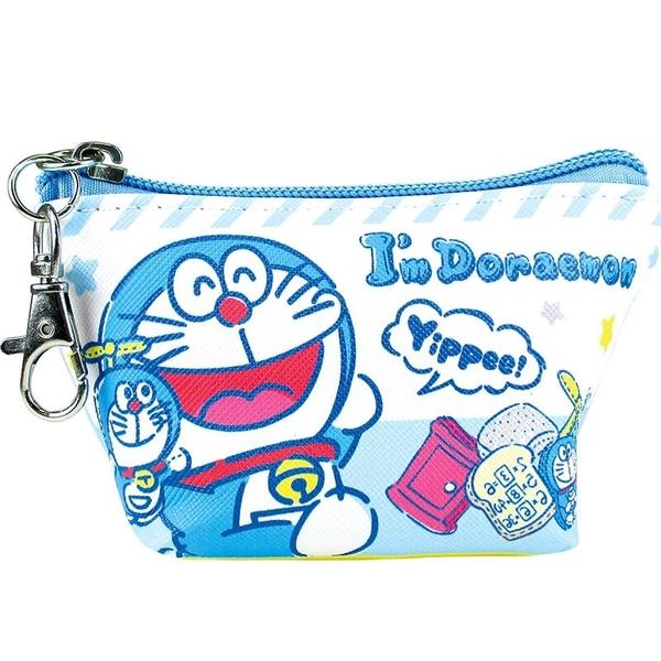 小禮堂 哆啦A夢 船形皮質零錢包 掛飾零錢包 小物收納包 (藍白 玩偶) 4548626-12724