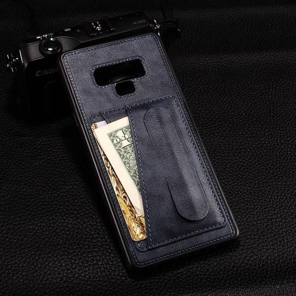 創意彈簧支架 三星 Galaxy Note 9 手機保護殼 三星Note9 插卡背殼 軟 矽膠 貼皮 手機套