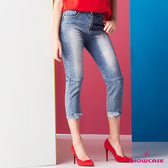 【SHOWCASE】潮流後膝開洞剪接七分深色牛仔褲(藍)
