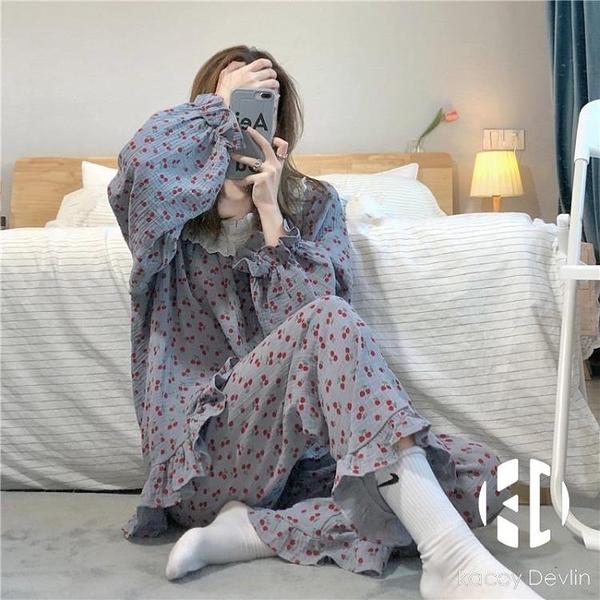 櫻桃睡衣套裝女寬鬆家居服兩件套長袖上衣睡褲【Kacey Devlin】