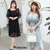 (現貨+預購 FUWAFUWA)-加大尺碼蕾絲長袖洋裝小禮服