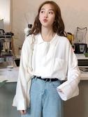 學院風長袖 秋季長袖襯衫復古港味襯衣設計感小眾寬鬆白色上衣女裝學生學院風 小天後