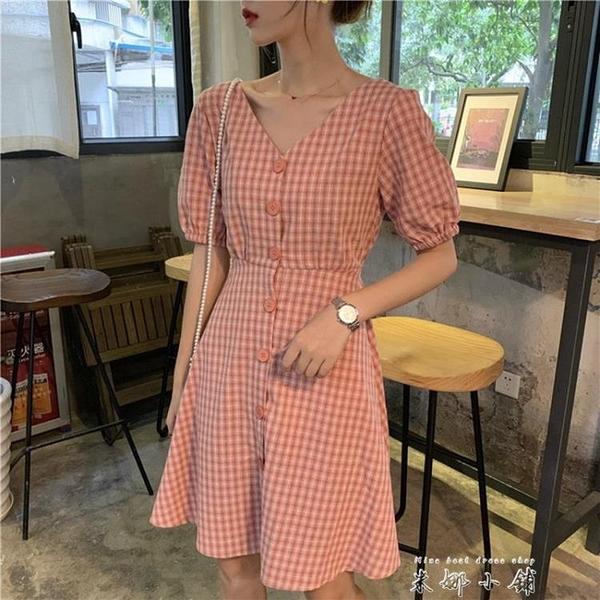 2020年夏季新款法式復古智熏桔梗收腰洋裝女森系格子洋裝子 米娜小鋪