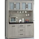 櫥櫃 餐櫃 SB-342-1 清心5.2尺鋼刷淺灰色碗盤櫃【大眾家居舘】