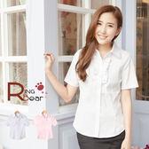 襯衫--超質感甜心OL胸前荷葉邊設計彈性細條紋襯衫H97(白.粉S-3L)-H97眼圈熊中大尺碼
