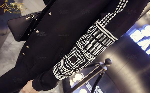 衣美姬♥韓版新款個性單排釦外套 韓系女孩復古長袖圓領小外套 休閒百搭民族風圖騰短版外套
