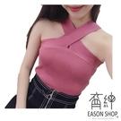 EASON SHOP(GW0774)韓版純色坑條紋短版交叉繞脖露肩無袖針織背心女上衣服彈力貼身內搭衫修身顯瘦