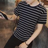 售完即止-夏季男上衣短袖t恤學生韓版韓版修身潮流男生半袖黑白條紋10-12(庫存清出T)