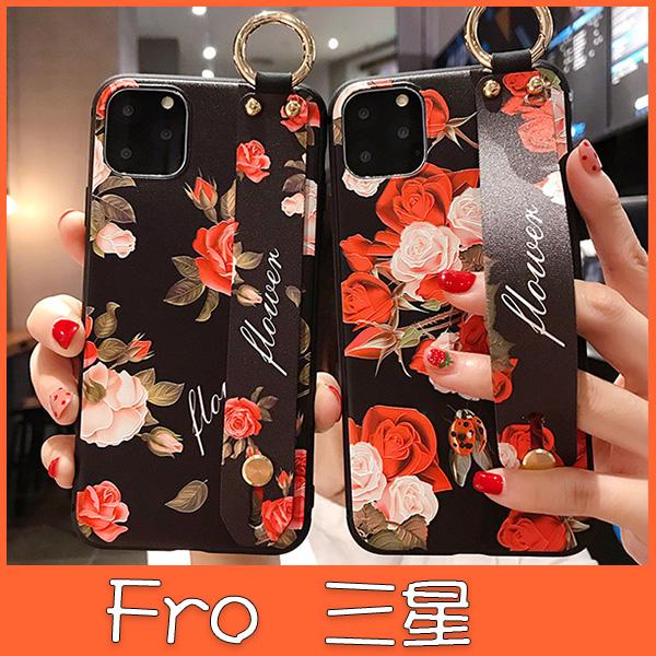 三星 Note10 Note10+ Note9 Note8 黑紅花腕繩組 手機殼 全包邊 手袋 支架 可掛繩 保護殼
