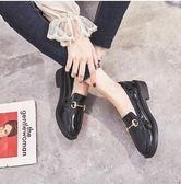 英倫風小皮鞋女鞋子夏季新款2019潮鞋百搭黑色豆豆平底單鞋女春款 韓流時裳