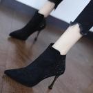 裸靴 黑色氣質短靴女2020秋冬百搭燙鉆細跟性感潮尖頭高跟鞋時尚馬丁靴 降價兩天