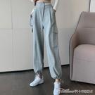 高腰顯瘦褲子女秋冬灰色運動褲秋季新款直筒寬鬆休閒褲束腳褲 阿卡娜