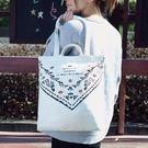 大帆布袋日韓女學生帆布手提袋子單肩包書購物袋小清新環保袋拎袋潮