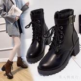 中大尺碼粗跟短靴 新款馬丁靴女款冬季英倫厚底高跟皮鞋百搭帥氣機車靴 DR32459【男人與流行】
