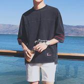 七分袖T恤男夏季寬鬆學生韓版個性潮流BF風上衣服 俏腳丫