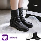 個性百搭修身款素面後鍊設計中跟中筒靴/2色/35-43碼 (RX1507-88-1) iRurus 路絲時尚