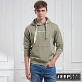 【JEEP】極簡百搭休閒長袖連帽TEE (橄欖綠)