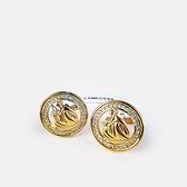 LANVIN亮鑽水晶母女LOGO金屬袖扣(金色)880062-09