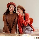 《FA2171》親膚系列.純色質感鏤空寬鬆針織長袖上衣 OrangeBear