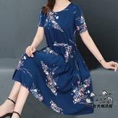 大尺碼洋裝 春夏季新款大碼女裝碎花連身裙中老年媽媽裝寬鬆胖mm減齡裙子 VK1674