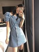 洋裝 一字領露肩牛仔洋裝女裝收腰顯瘦氣質洋氣設計感裙子輕熟風夏天
