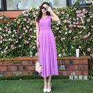 無袖洋裝夏季新品女裝無袖沙灘度假長裙正韓修身波西米亞雪紡連身裙S-2XL1