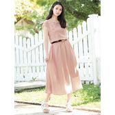 單一優惠價[H2O]領口袖口花邊刺繡顯瘦長洋裝-藍/粉色 #8684007