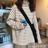 長袖T恤 高領打底衫女秋冬2021年新款韓版寬鬆內搭長袖T恤女條紋上衣潮 小天使