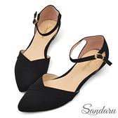 訂製鞋 法式尖頭壓折繞踝低跟鞋-黑