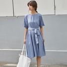 短袖洋裝-圓領綁帶蝴蝶結棉質連身裙2色73xm23[時尚巴黎]