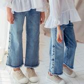 女童牛仔褲全棉刺繡寬鬆牛仔闊腿褲九分褲