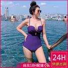 【現貨】梨卡 - 火辣性感[有胸墊+顯瘦挖洞]三角遮肚連身溫泉連身泳衣連身泳裝CR505-2