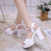 涼鞋女夏高跟粗跟厚底防水台新款韓版一字扣帶魚嘴百搭女鞋子