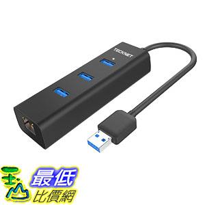 集線器 TeckNet Aluminum 3-Port USB 3.0 Hub with RJ45 10/100/1000 Gigabit Ethernet Adapter Converter_TB2