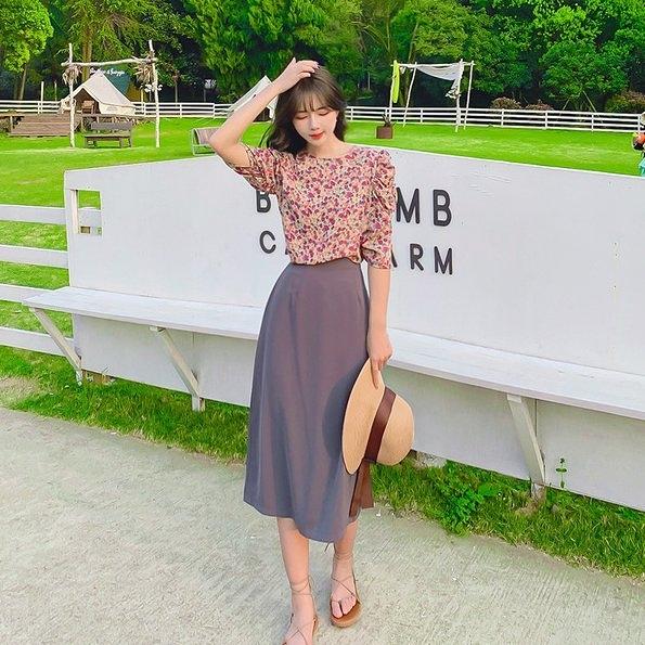 上衣襯衫半身裙S-XL洋氣小香風減齡顯瘦碎花半身裙NA02D.3580皇潮天下