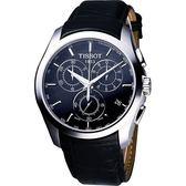 TISSOT 天梭 Couturier 建構師系列計時皮帶手錶-黑 T0356171605100